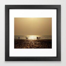 Sunset with family Framed Art Print
