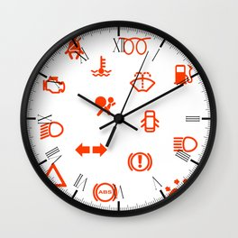 Vehicle Dash Warning Symbols Wall Clock