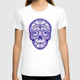 Sugar Skull (Calavera) Chromatic Aberration - Cyan Magenta T-shirt