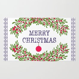 Merry christmas and happy new year white greeting card wreath light white background Rug