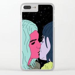 Girls like Girls (blue) Clear iPhone Case