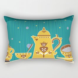 Retro coffee for one illustration Rectangular Pillow