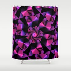 Abstract 344 a berry and black kaleidoscope Shower Curtain