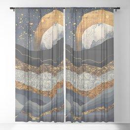 Metallic Mountains Sheer Curtain