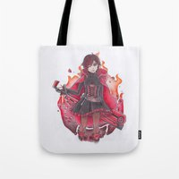 rwby Tote Bags featuring RED LIKE ROSES by Caelum Picta - Christopher Gonzales