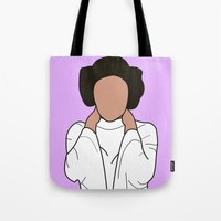 princess leia Tote Bags featuring Princess Leia by Blancamccord