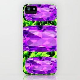 PURPLE AMETHYST FEBRUARY BIRTHSTONE GREEN ART iPhone Case
