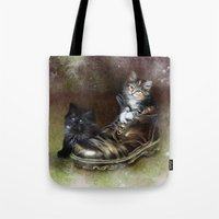 kittens Tote Bags featuring Kittens by Julie Hoddinott