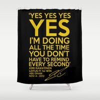 f1 Shower Curtains featuring Kimi Raikkonen F1 Lotus I'm doing all the time by Krakenspirit