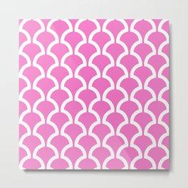 Classic Fan or Scallop Pattern 474 Pink Metal Print
