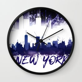 Graphic Art NYC Skyline Splashes | purple Wall Clock