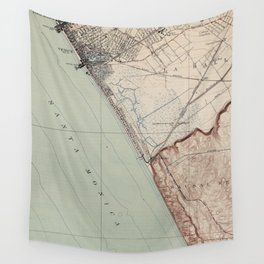 Vintage Map of Venice Beach California (1923) Wall Tapestry