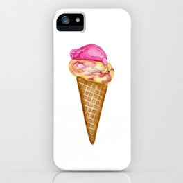 Raspberry Ripple Ice Cream in Watercolor iPhone Case