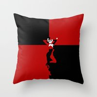 harley quinn Throw Pillows featuring HARLEY QUINN - HARLEY QUINN by Raisya