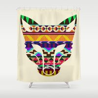 indie Shower Curtains featuring Fox Face Indie design  by Third Person