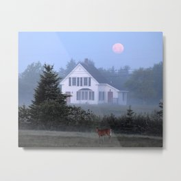 Young Buck Under a Strawberry Moon Metal Print