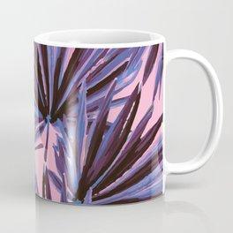 Tropical Palm Leaves in Electric Pink + Sea Blue Coffee Mug