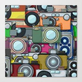 Vintage camera pattern Canvas Print