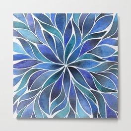 Floral Vines - Blue Metal Print