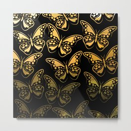 Sunrise over jungle butterfly pattern Metal Print