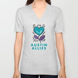 Austin Allies Turq Flower Unisex V-Neck