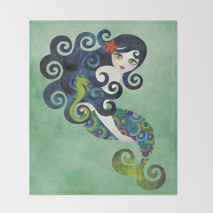 Aquamarine Mermaid Throw Blanket