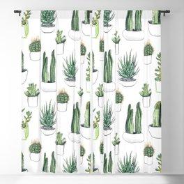 Watercolour Cacti & Succulents Blackout Curtain
