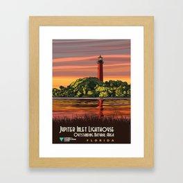Vintage Poster - Jupiter Inlet Lighthouse Outstanding Natural Area, Florida (2015) Framed Art Print