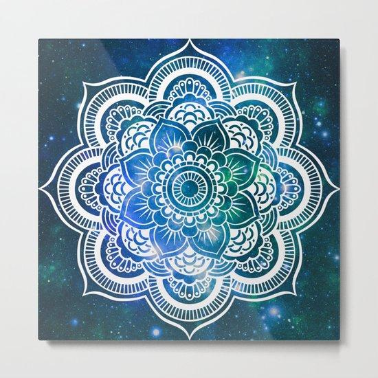 Mandala : Blue Green Galaxy Metal Print