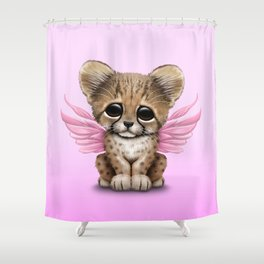 Cute Baby Cheetah Cub with Fairy Wings on Pink Shower Curtain