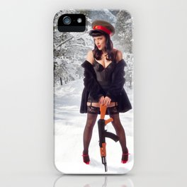 """""""Sovietsky on Ice"""" - The Playful Pinup - Russian Theme Pin-up Girl in Snow by Maxwell H. Johnson iPhone Case"""