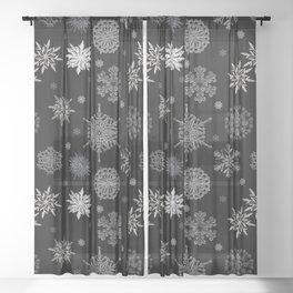 Snowflake Large Print Pattern Sheer Curtain
