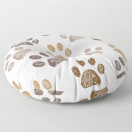 Brown colored paw print background Floor Pillow