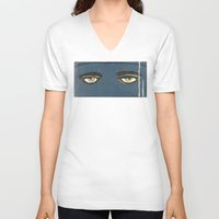 gatsby V-neck T-shirts featuring Gatsby Stare  by Julia Lopez