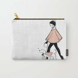 Winter Walk with my Pup Fashion Illustration Carry-All Pouch