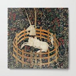 Unicorn Fenced in Garden Medieval Tapestry Metal Print