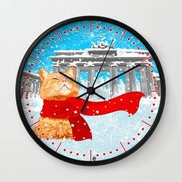 Berlin Snowcat Wall Clock