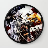 patriotic Wall Clocks featuring PATRIOTIC TIMES by PERRY DAEZIOUH