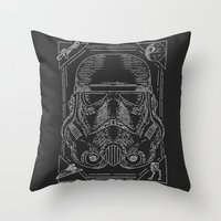 storm trooper Throw Pillows featuring Storm Trooper by Jon Deviny