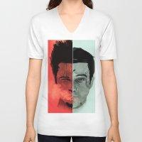 tyler durden V-neck T-shirts featuring Tyler Durden V. the Narrator by qualitypunk
