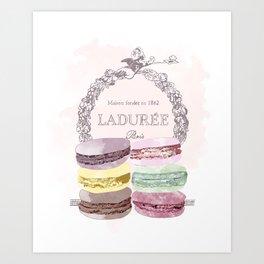 French Macaroon, Kitchen Art, Pastel Art Print