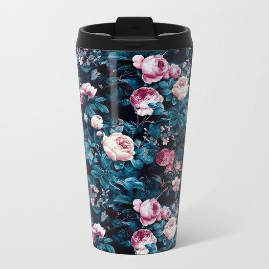 Roses Blue Metal Travel Mug