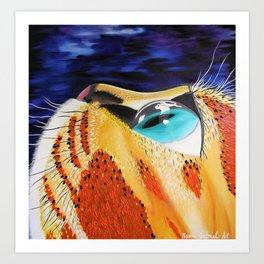 Curiosity, Orange Space Cat, Cool Cat, Orange Cat Print Art Print