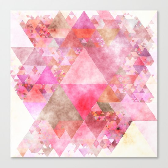 Triangles in pink - Watercolor Illustration pattern Canvas Print