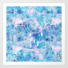Mermaid blue turquoise watercolor boho dreamcatcher floral pattern Art Print