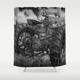 Abandoned Old Farmall Tractor in Black and White Shower Curtain