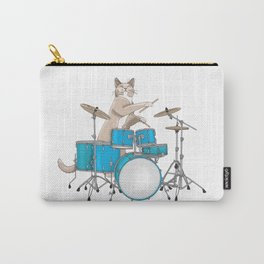 Cat Playing Drums - Blue Carry-All Pouch