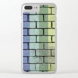 Rainbow Pride Brick Wall Urban Colors Gay Grunge Clear iPhone Case