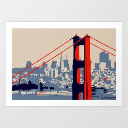 Golden gate bridge vector art Art Print