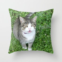 Cat in Clover Saying Hello Throw Pillow